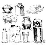 Set of milk products Stock Illustration