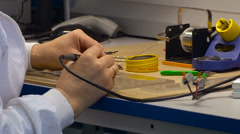 Soldering Process Close Up. Laboratory Equipment. Precise Work. Soldering Stock Footage