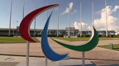 Paralympic symbol in Russian olympic sity Stock Footage