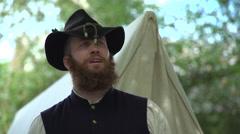Rugged Civil War soldier man Stock Footage
