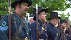 Row of Union Civil War soldiers Stock Footage