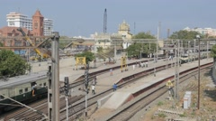 MRTS train arriving in station,Chennai,India Stock Footage