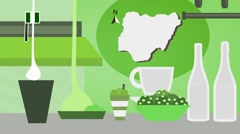Nigeria - Vector Menu - Restaurant - Food and Drinks - green Stock Footage