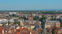Strasbourg, top view, red roofs of houses, cars Stock Footage