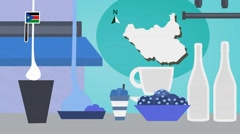 South Sudan - Vector Menu - Restaurant - Food and Drinks - blue Stock Footage