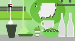 Sudan - Vector Menu - Restaurant - Food and Drinks - green Stock Footage