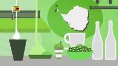 Zimbabwe - Vector Menu - Restaurant - Food and Drinks - green Stock Footage