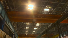Empty Working Area. Steel Industrial Construction With Pillars. Stock Footage