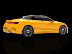 Yellow modern business car - on black reflective background - rear side view Stock Illustration