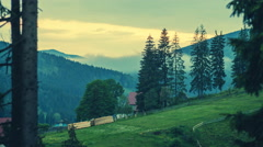 TIME LAPSE: Sunset in low sun light rays on a mountain slope. Carpathian Stock Footage