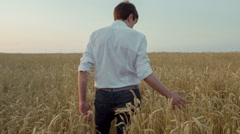 Man in the Field With Rye Stock Footage