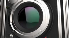 Vintage camera lens closeup Stock Illustration