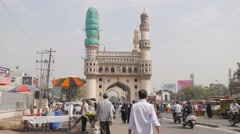 Busy road towards Charminar,Hyderabad,India Stock Footage