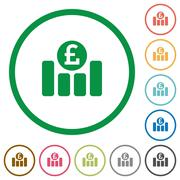 Pound graph outlined flat icons Stock Illustration