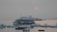 Sunrise over Butcher island and harbour,Mumbai,India Stock Footage