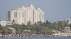 Saifee Hospital and Chowpatty beach,Mumbai,India Stock Footage