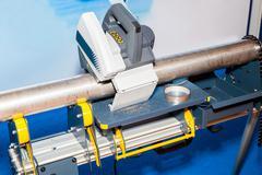 Exact pipe cutting bench Stock Photos