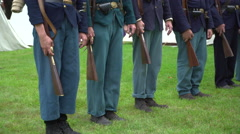 Seven Civil War soldiers in a row Stock Footage