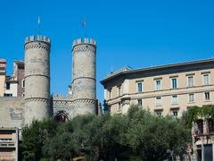 Genoa Porta Soprana famous gate with Crenellated Towers Stock Photos