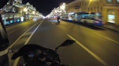 On a motorcycle in St. Petersburg night Stock Footage