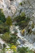 The mountain river in gorge in the Alpes-Maritimes Stock Photos