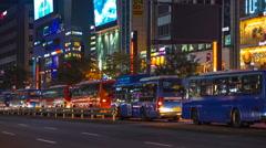 Night Traffic in Gangnam, Seoul, South Korea Stock Footage