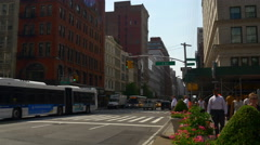 Summer day manhattan famous flat iron building panorama 4k new york usa Stock Footage