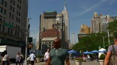 Day manhattan empire state building street walking panorama 4k new york usa Stock Footage
