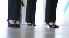 Down view of young females dancing in model school Stock Footage