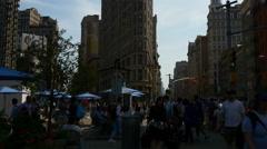 Manhattan summer day flat iron building panorama 4k new york usa Stock Footage