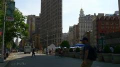 Manhattan famous flat iron building square panorama 4k new york usa Stock Footage