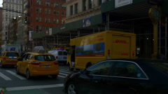 Manhattan summer day traffic flat iron building street view 4k new york usa Stock Footage