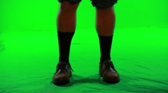 Geek's nerdy legs and feet green screen Stock Footage