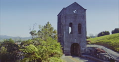 The Cornish Pumphouse mine in waihi, New Zealand Stock Footage