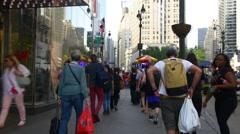 Summer day manhattan broadway street view walking panorama 4k new york usa Stock Footage
