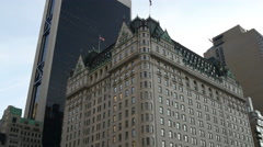 Manhattan  the plaza hotel street view panorama 4k new york usa Stock Footage