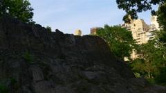 Sunset central park manhattan eastside walking panorama 4k new york usa Stock Footage