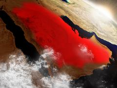 Saudi Arabia from space highlighted in red Stock Illustration