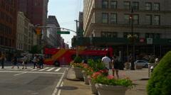 Summer day flat iron building walking street view panorama 4k new york usa Stock Footage