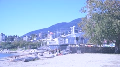A pan of the West Vancouver beachfront Stock Footage