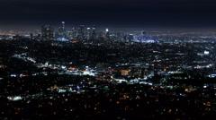 Los Angeles Skyline 43 Downtown Night Time Lapse 8K Stock Footage