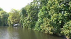 Beautiful nature at the banks of River Spree in Berlin Stock Footage