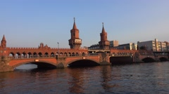 Most beautiful Bride over River Spree in Berlin - called Oberbaumbruecke Stock Footage