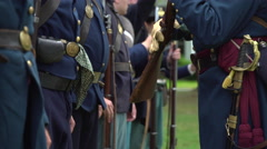 Military inspection of Civil War soldiers Stock Footage