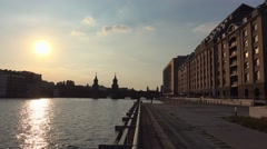The modern banks of River Spree in Berlin Friedrichshain Stock Footage