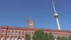 Red town hall of Berlin - massive red brick building Stock Footage
