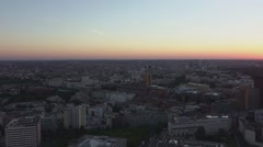 Sunset over the city of Berlin Germany in the evening - aerial view Stock Footage