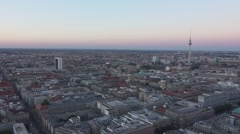 The City of Berlin Germany in the evening - aerial view Stock Footage
