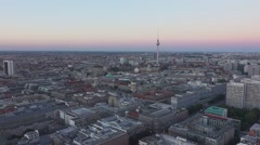 Aerial view over the city of Berlin Germany Stock Footage
