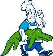 Chef Alligator Spatula Walking Cartoon Stock Illustration
